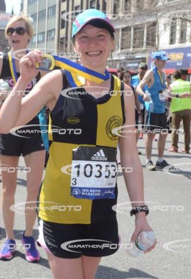 Sarah Atwwod finishes Boston